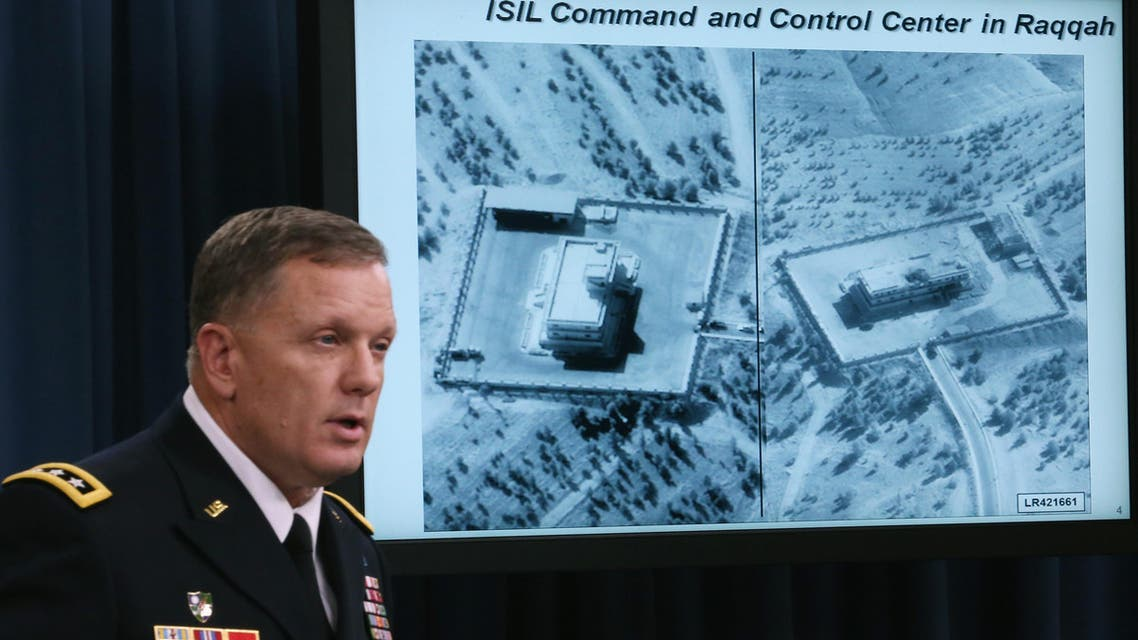 Lt. Gen. William C. Mayville Jr. speaks about the Syrian bombing campaign September 23, 2014 in Washington, DC.