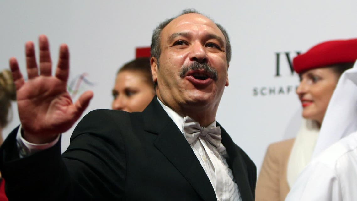 A file picture taken on Dec. 6, 2013 shows late Egyptian actor Khaled Saleh waving to the crowd upon his arrival at the opening ceremony of the Dubai International Film Festival (DIFF) in the Gulf emirate. (AFP)