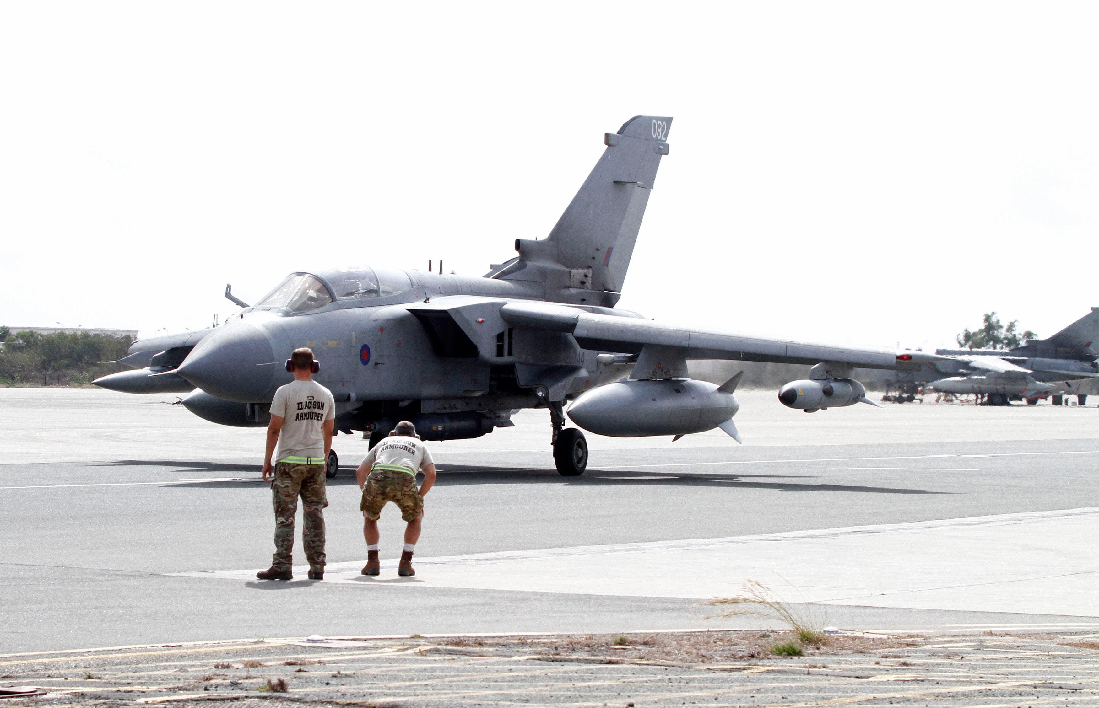 A British tornado jet prepares for takeoff at RAF Akrotiri in Cyprus September 27, 2014. (Reuters)