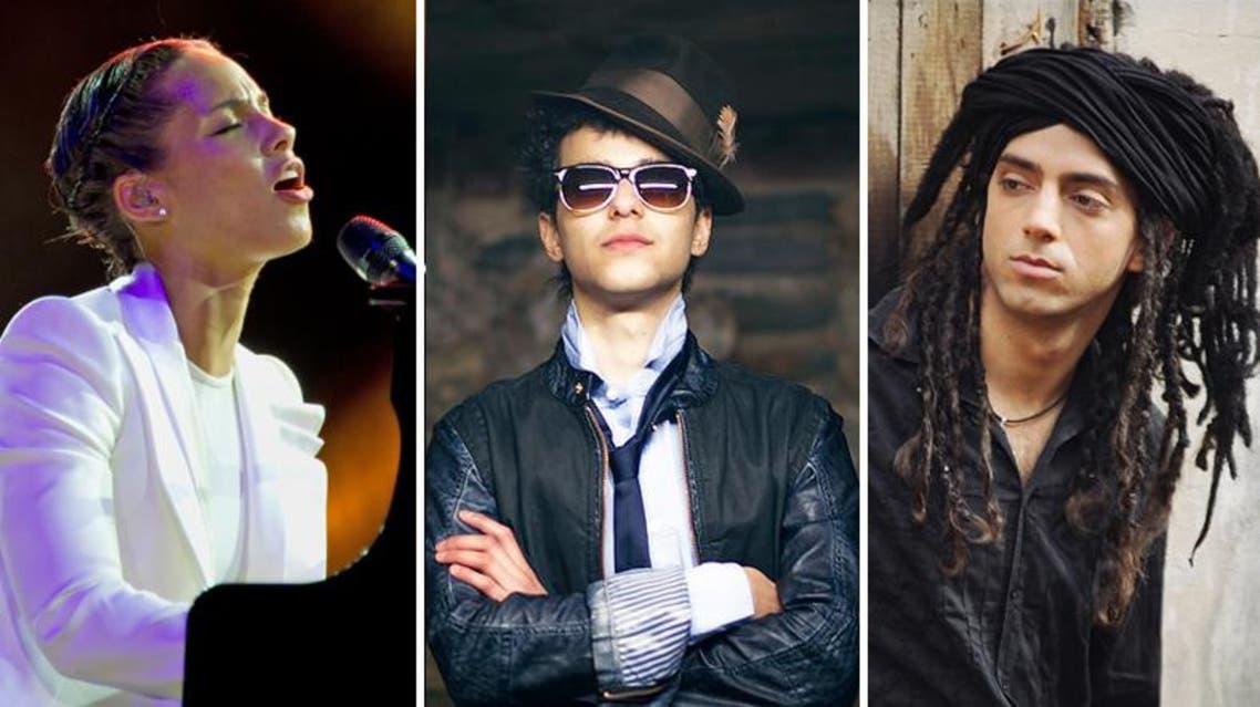 Israeli artist Idan Raichel, Palestinian qanun player Ali Amr joined U.S. musician Alicia Keys. (Photos: Facebook)