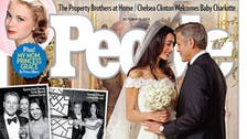 First photos of Clooney wedding show Amal's lace gown