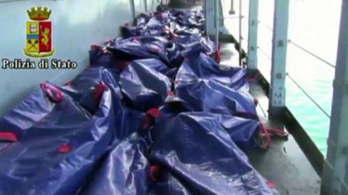 جثث مهاجرين ضقوا غرقاً في البحر الابيض المتوسط لاجئين