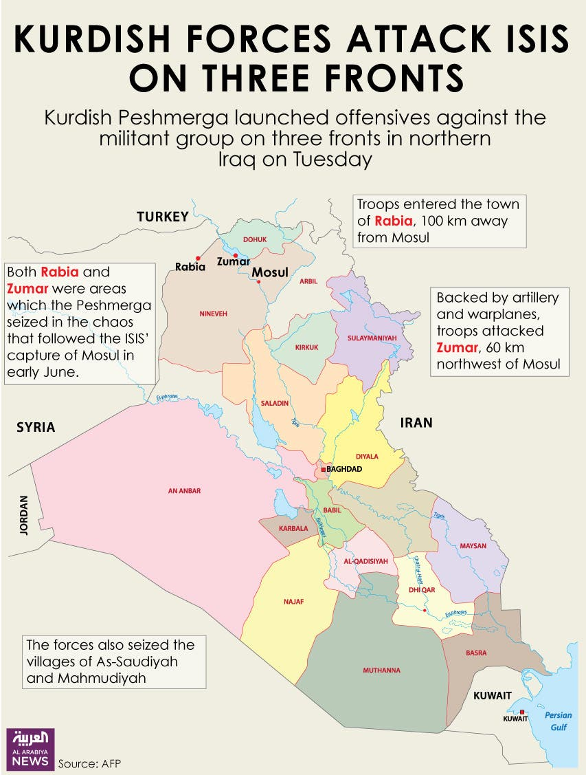Infographic: Kurdish forces attack ISIS on three fronts