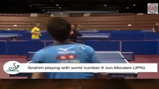 Egyptian arm  amputee plays table tennis with mouth