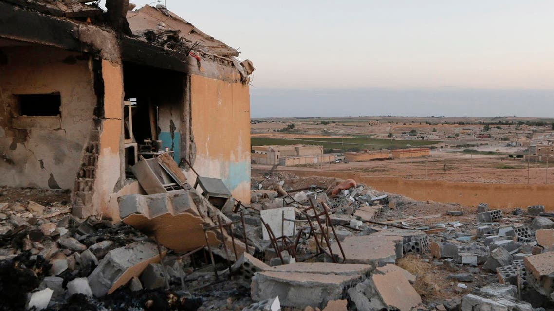 A general view shows a damaged school that was targeted on Monday by what activists said were U.S.-led air strikes, at Ain al-Arous town in Raqqa governorate October 1, 2014. Reuters