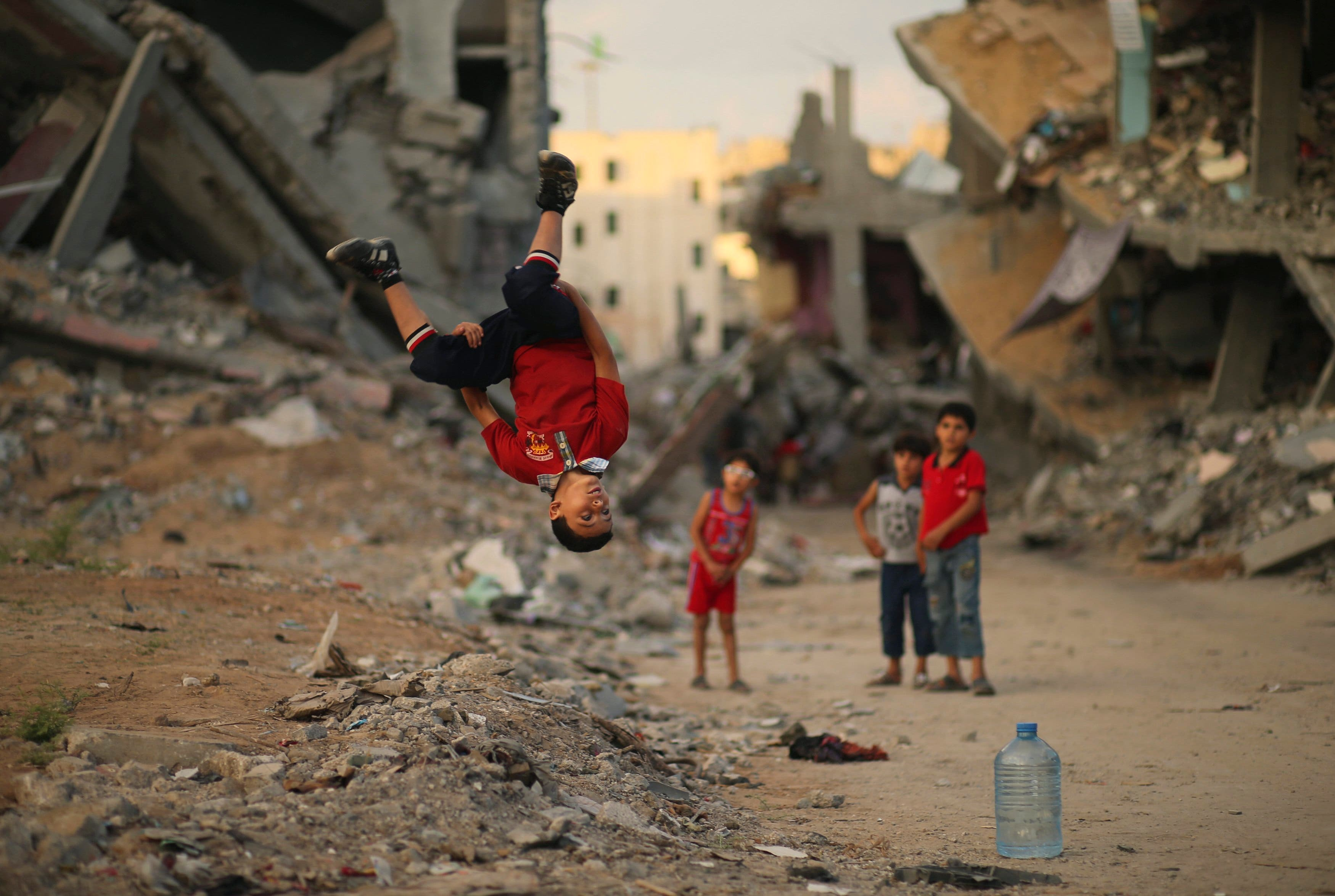 Gaza youth practice parkour