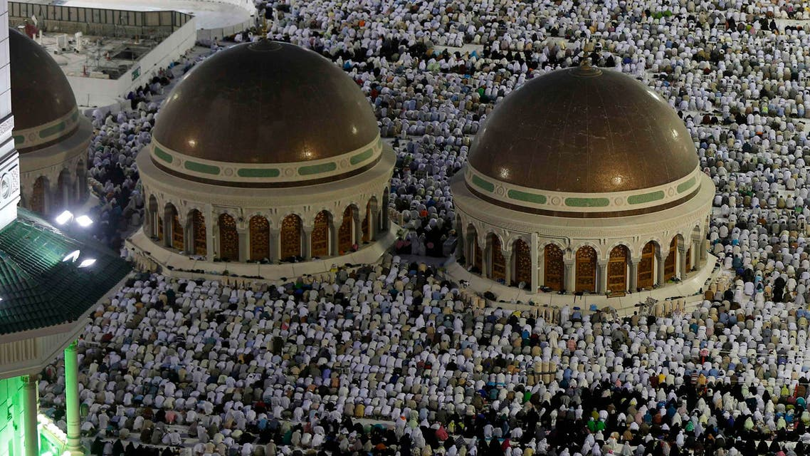 Muslim pilgrims pray near the holy Kaaba (not seen) at the Grand Mosque, during the annual hajj pilgrimage in Mecca September 27, 2014.  (Reuters)