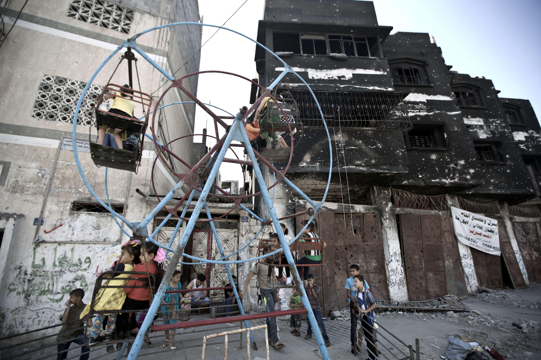 Palestinian children celebrate Eid al-Adha