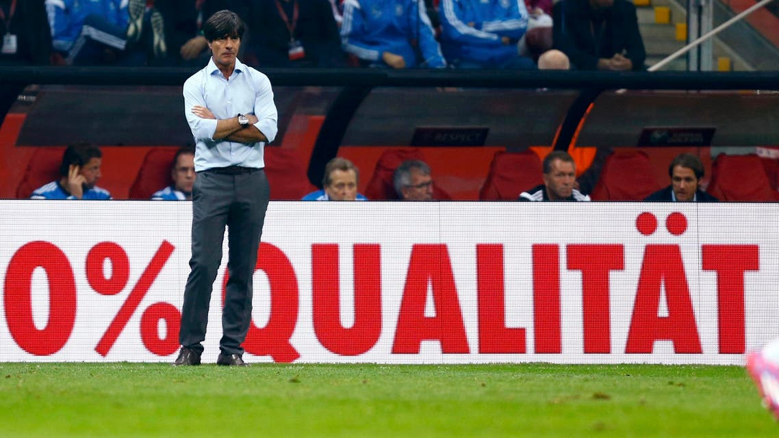 Germany's coach Joachim Loew reacts after a goal of Poland's Sebastian Mila (not pictured) during their Euro 2016 group D qualifying soccer match at the National stadium in Warsaw October 11, 2014. (Reuters)