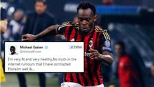AC Milan's Essien denies rumors he contracted Ebola