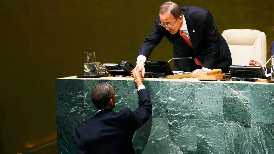 U.S. President Barack Obama (L) is greeted by United Nations Secretary General Ban Ki-moon before addressing the 69th United Nations General Assembly at U.N. headquarters in New York, September 24, 2014. (Reuters)