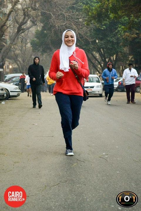 A young Cairene running in one of the organization's runs. (Photo courtesy: Cairo Runners Facebook page)