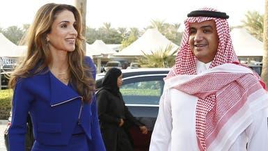 """الملكة رانيا تزور """"mbc"""" وتلتقي وليد آل إبراهيم"""