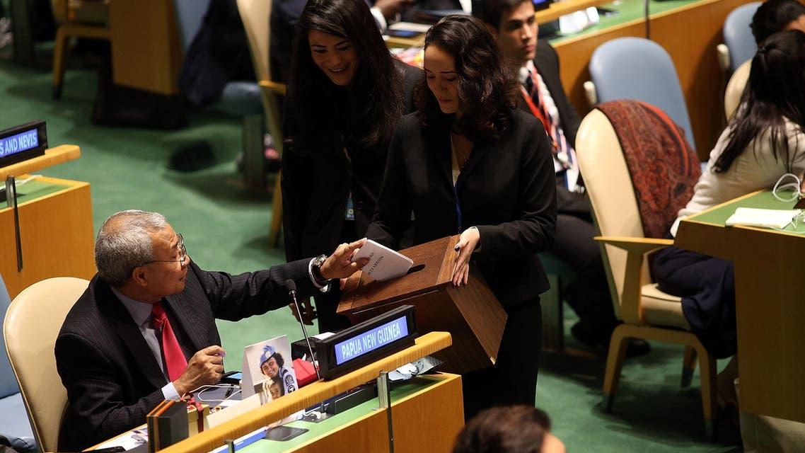 خلال جلسة تصويت في الجمعية العمومية في الأمم المتحدة