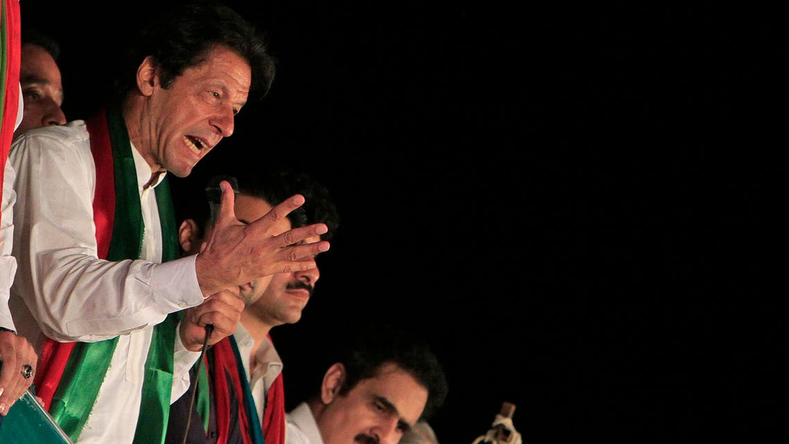 Imran Khan, chairman of the opposition Pakistan Tehreek-e-Insaf (PTI) political party, addresses to his supporters during what has been dubbed a freedom march in Islamabad September 26, 2014.  (Reuters)