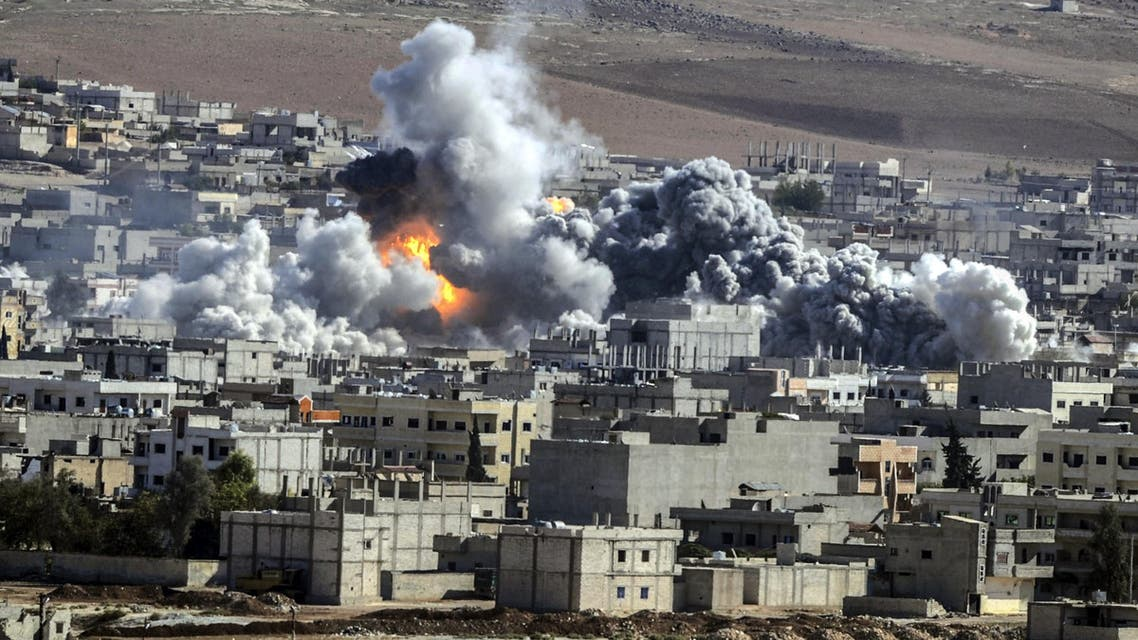 Smoke and flames billow following an explosion in the Syrian town of Kobane. (AFP)