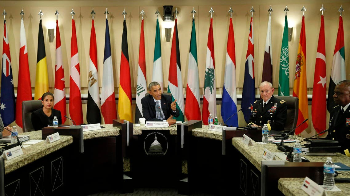 U.S. President Barack Obama speaks at a meeting with more than 20 foreign defense chiefs to discuss the coalition efforts in the ongoing campaign against ISIS at Joint Base Andrews in Washington Oct. 14, 2014. (Reuters)