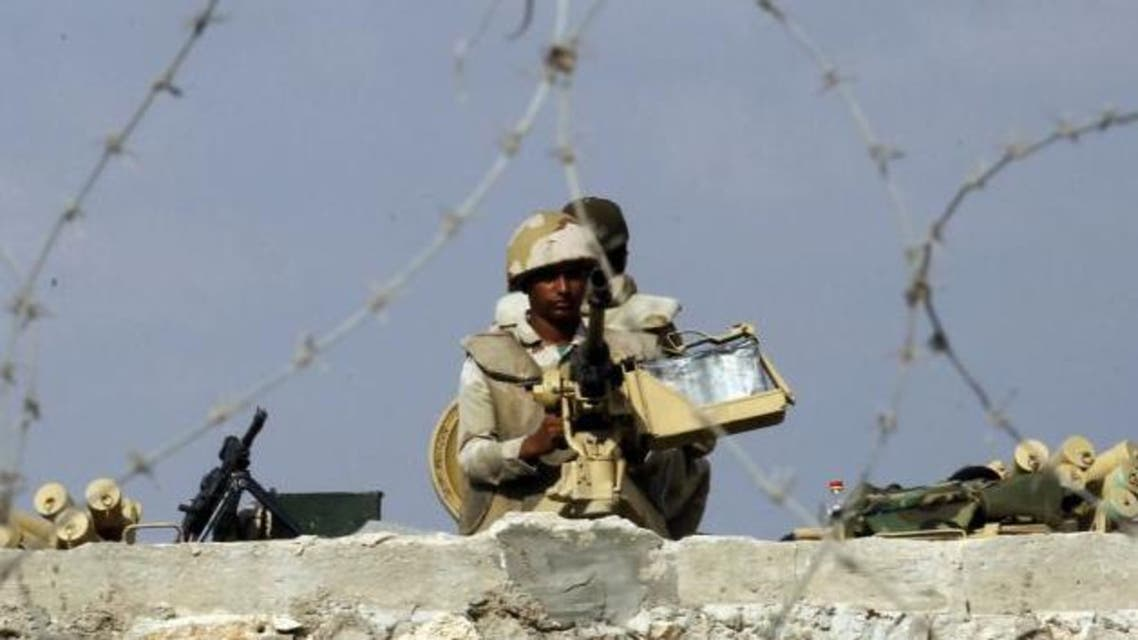 An Egyptian soldier near the Rafah border with Gaza. (AFP)