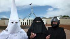 KKK outfit worn in anti-niqab Australia protest
