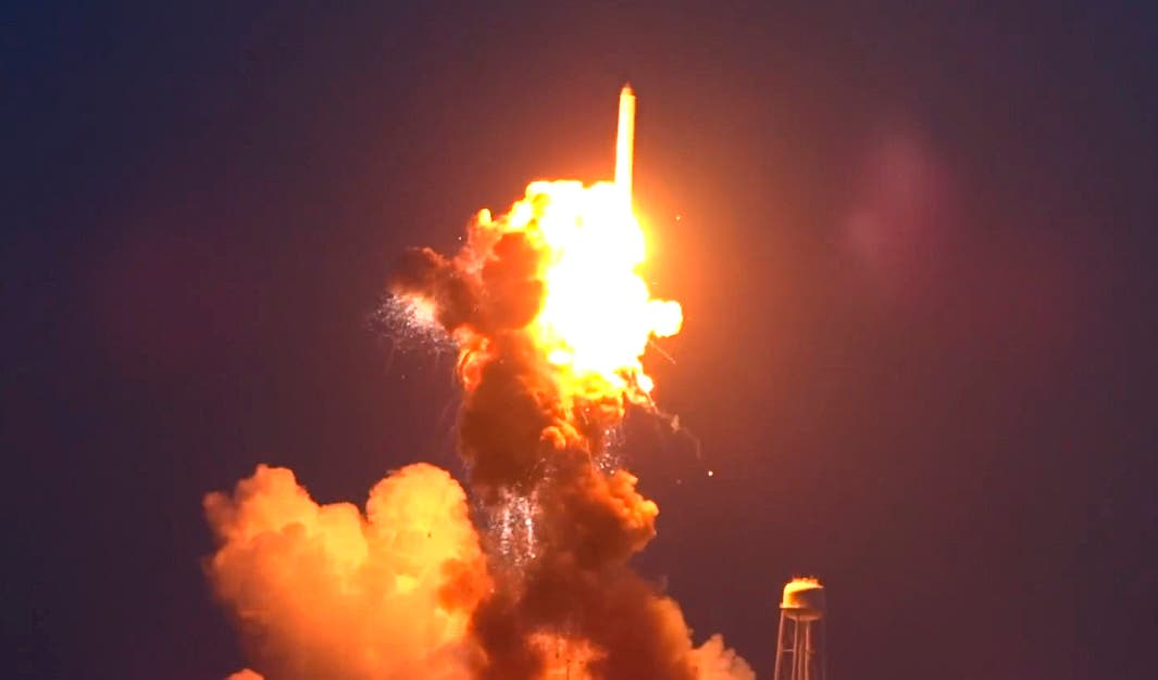 An unmanned Antares rocket is seen exploding seconds after lift off from a commercial launch pad. (Reuters)