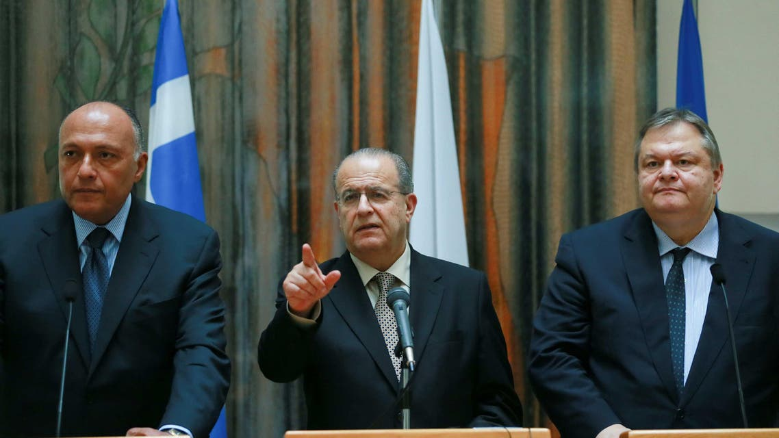 Shoukri Kasoulides Venizelos Egypt Foreign Cyprus Greece AFP