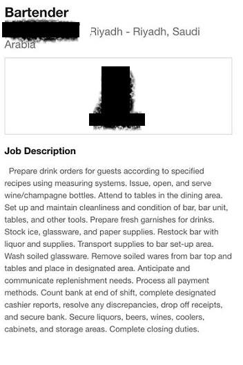 job description for bartender