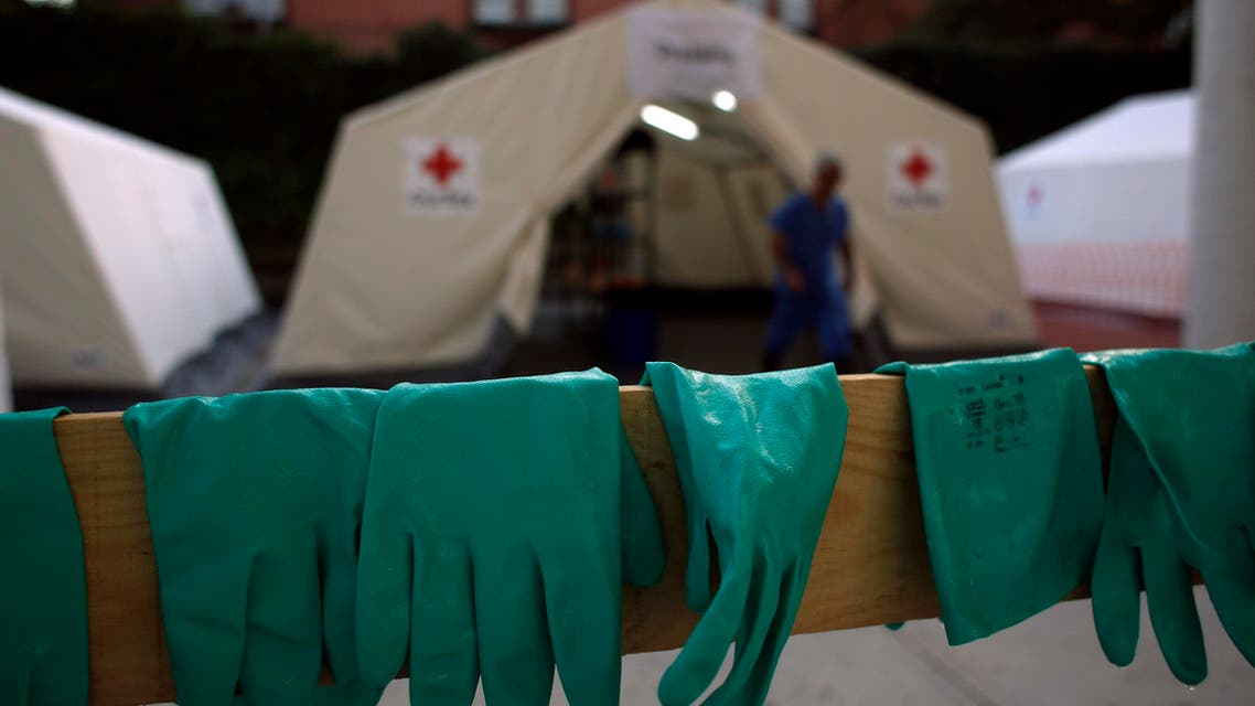 Gloves are left to dry after an Ebola training session held by Spain's Red Cross in Madrid October 29, 2014. (Reuters)