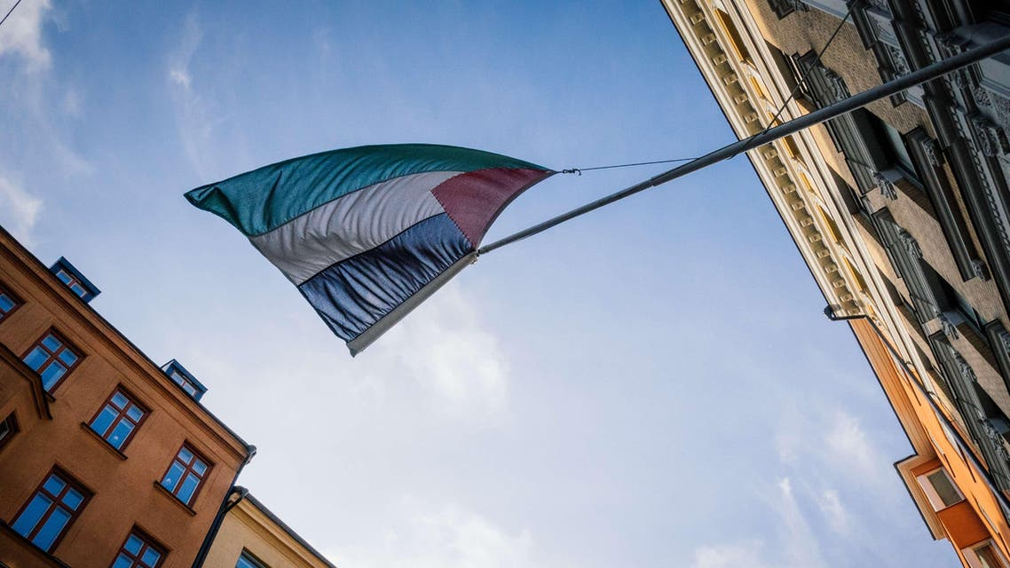 Palestinian flag is on display outside the Palestinian Representative Office in Stockholm, Sweden 's capital, on Oct. 30, 2014. (AFP)