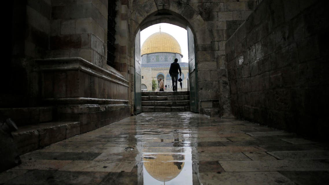 A visitor walks toward the Dome of the Rock as he enters the compound known to Muslims as Noble Sanctuary and to Jews as Temple Mount, in Jerusalem's Old City Oct. 19, 2014.  (Reuters)