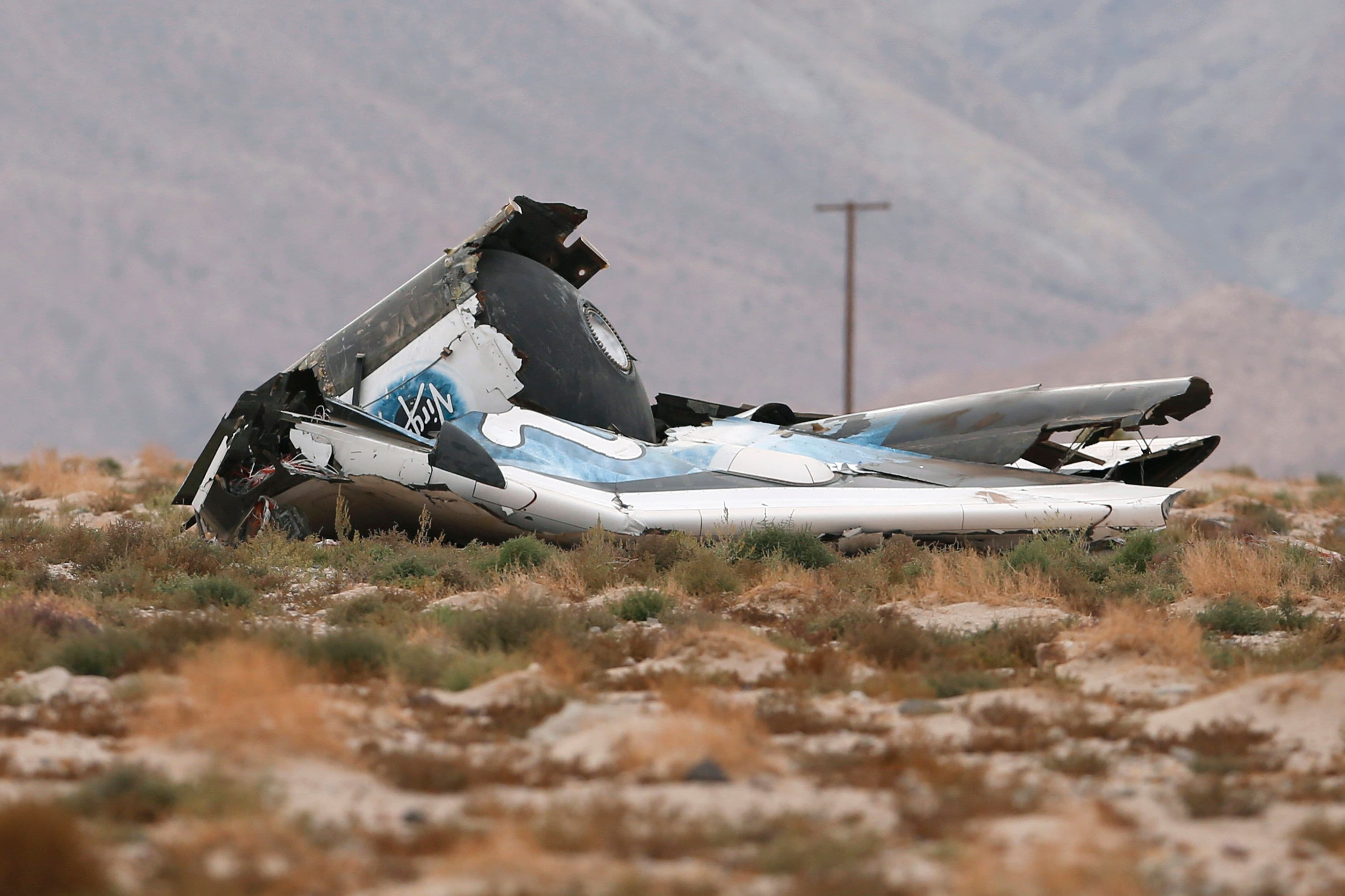 A piece of debris is seen near the scene of the crash of Virgin Galactic's SpaceShipTwo near Cantil, California October 31, 2014. (Reuters)