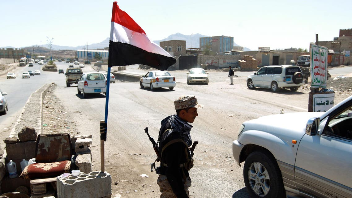 A Yemeni gunmen loyal to the Houthi movement mans a checkpoint in Sanaa. AFP