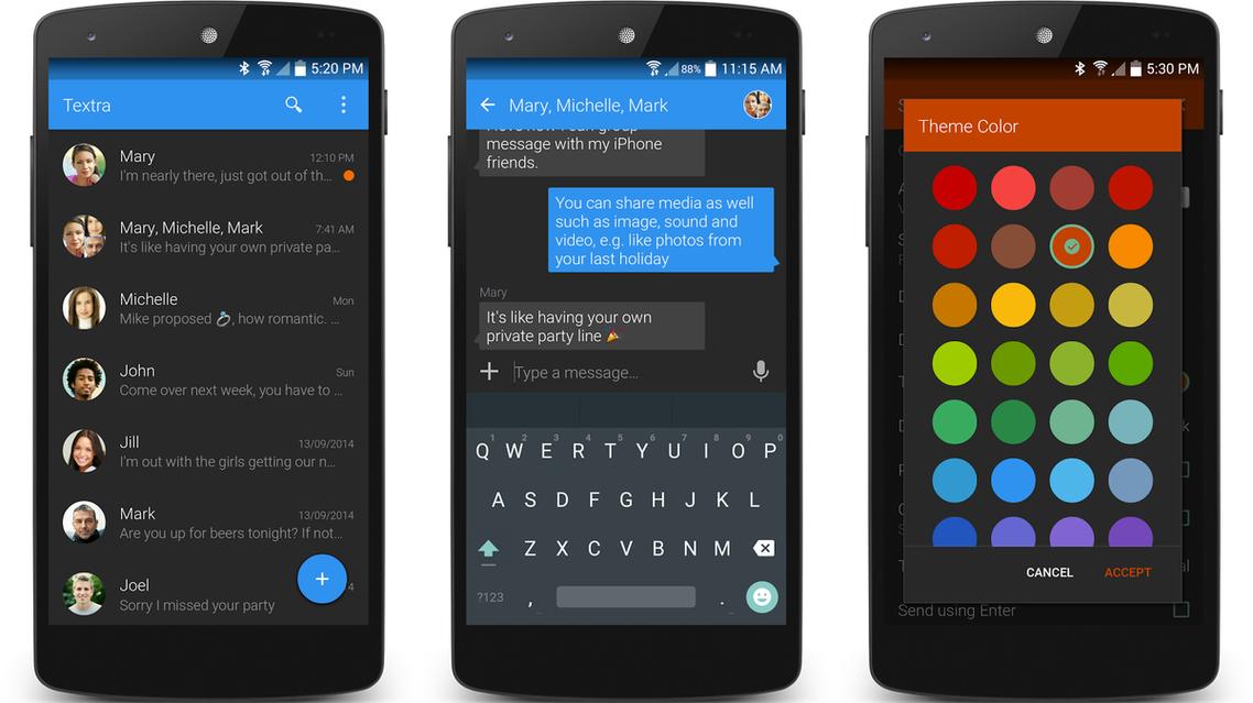 الرسائل النصية القصيرة بحلّة جديدة في أندرويد