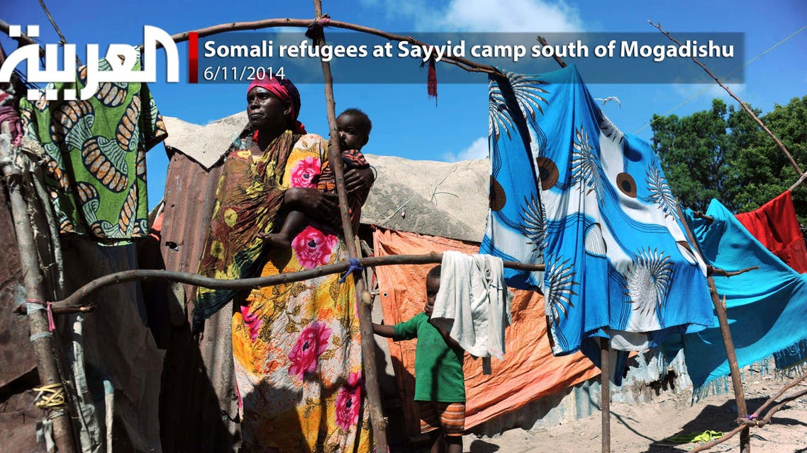 Somali refugees at Sayyid camp south of Mogadishu