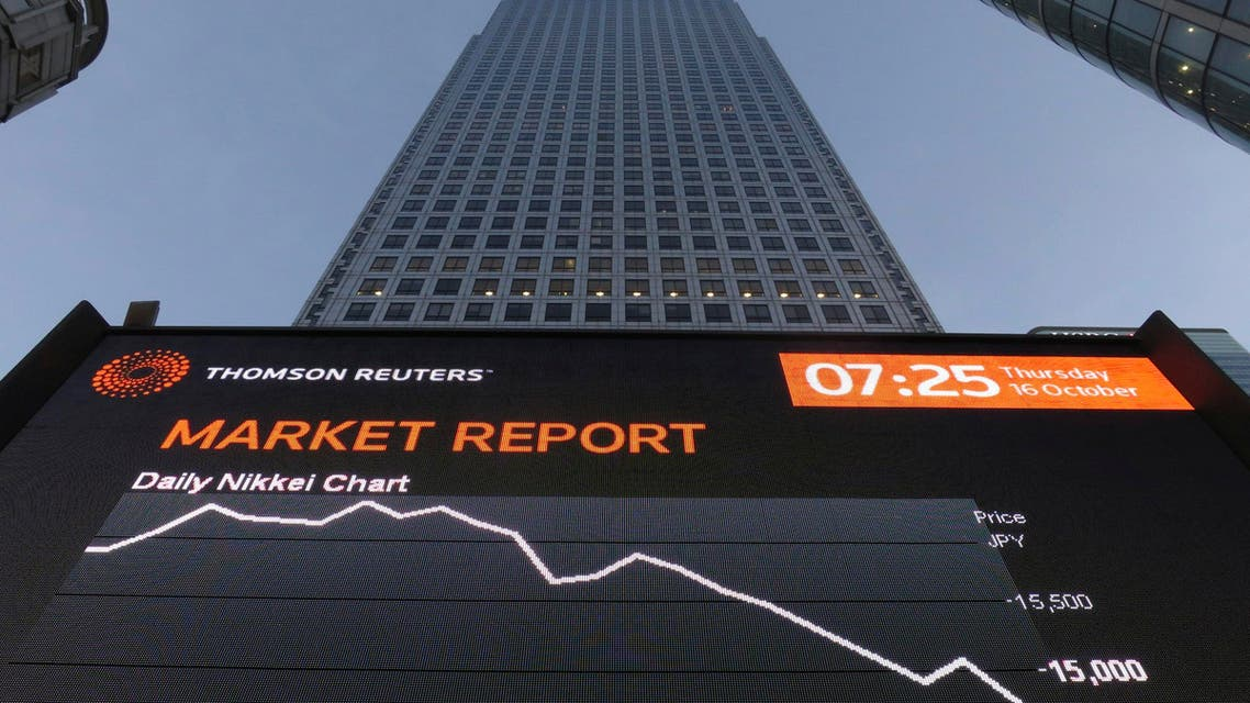 The market report is displayed on a screen in London's financial district of Canary Wharf early morning Oct. 16, 2014. (AFP)