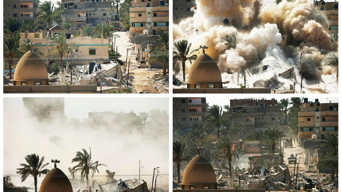 A combination of pictures shows a house before (top L) and after (bottom R) it was blown up during a military operation by Egyptian security forces in the Egyptian city of Rafah, near the border with southern Gaza Strip October 29, 2014. (Reuters)