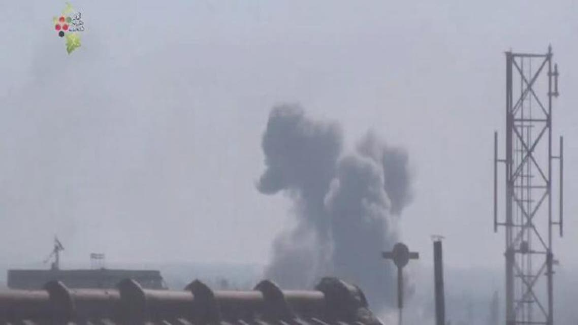 THUMBNAIL_ غارتان جويتان على مدينة دوما في الغوطة الشرقية بريف دمشق