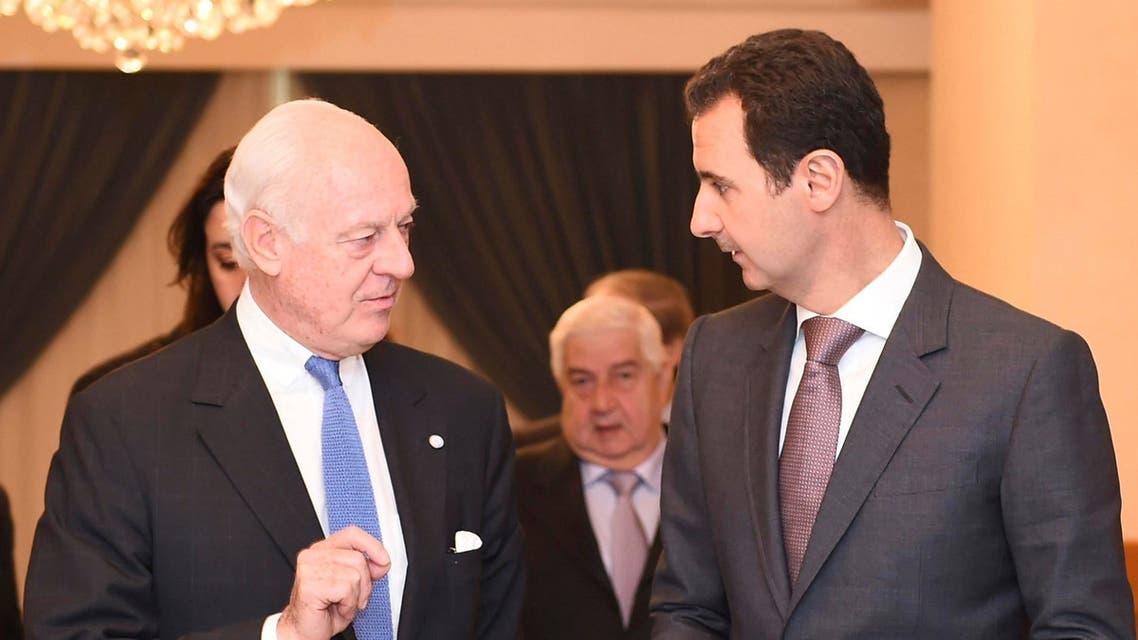 بشار الأسد مع  و ستافان دي ميستورا