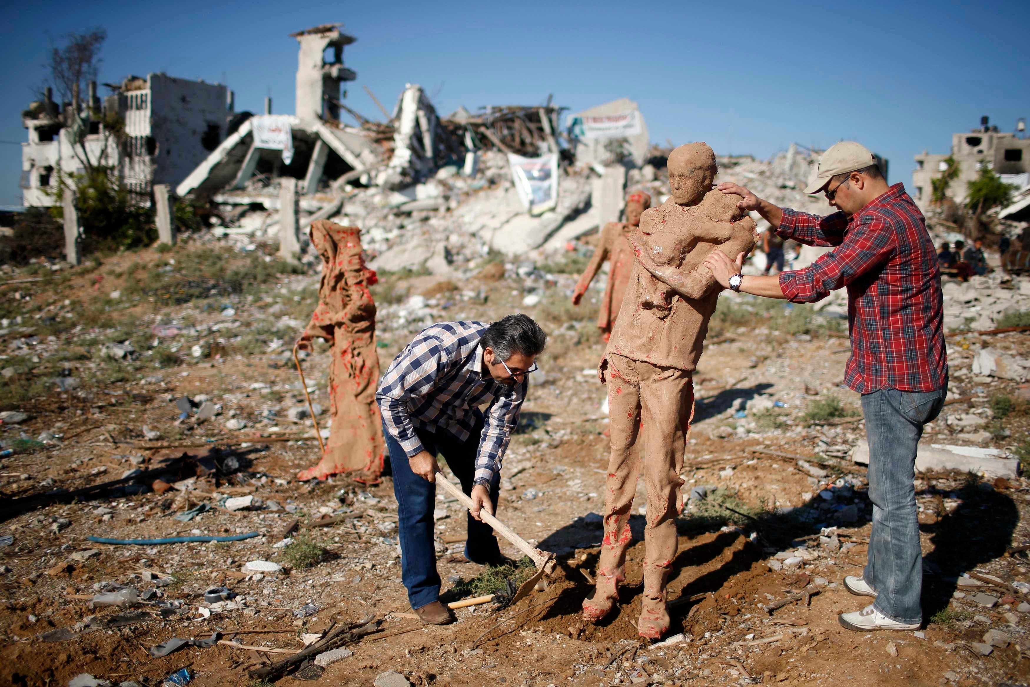Stuck in the rubble: Gaza artist deploys frozen human