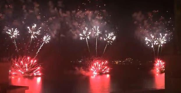 Dubai fireworks tram