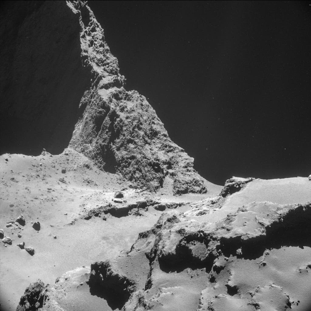 A handout image captured October 23, 2014, from a distance of about 7.8 km (4.8 miles) from the surface, of the comet 67P/Churyumov-Gerasimenko, made available by the European Space Agency (ESA) on Nov. 11, 2014. (Reuters)