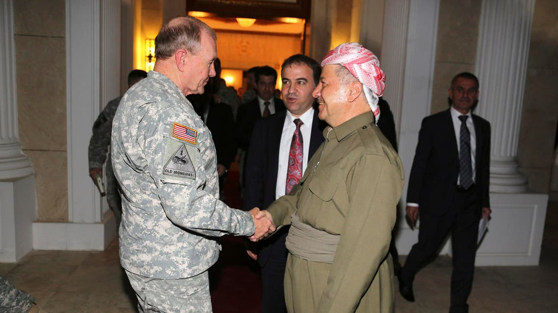 Iraqi Kurdish regional President Masoud Barzani (R) meets with Chairman of the Joint Chiefs, U.S. Army General Martin Dempsey in Erbil, north of Baghdad, November 15, 2014. (Reuters)