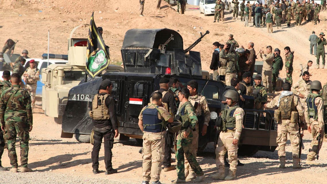 Members of the Kurdish security forces and Iraqi armed forces gather during an intensive security deployment in Diyala province north of Baghdad. (File photo: Reuters)