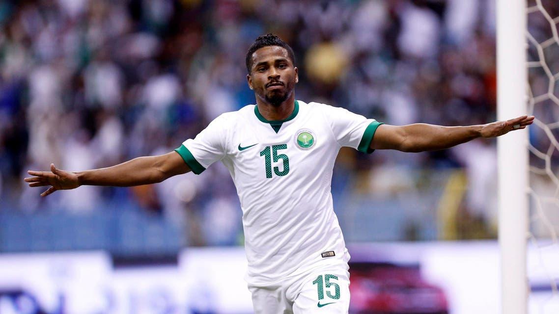 Saudi Arabia's Nasser Al-Shamrani celebrates after scoring a goal against UAE during their Gulf Cup semi-final soccer match in Riyadh November 23, 2014.  (Reuters)