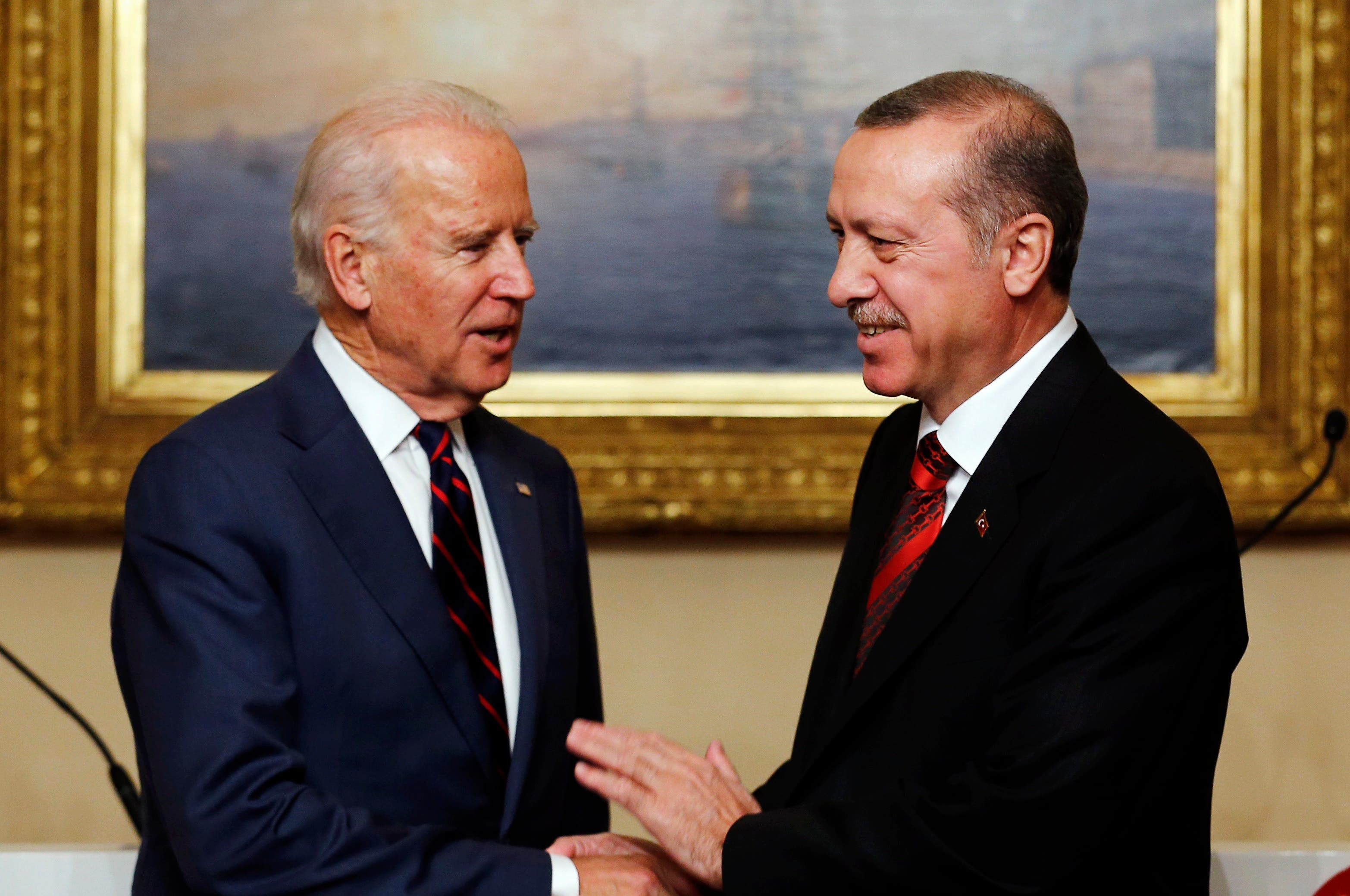 Then-US Vice President Joe Biden (L) meets with Turkey's President Tayyip Erdogan at Beylerbeyi Palace in Istanbul November 22, 2014. (Reuters)