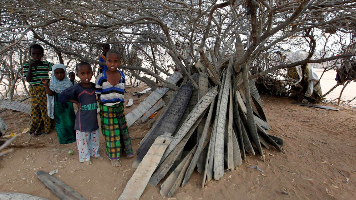 Refugees inside a makeshift madrasa in Dadaab