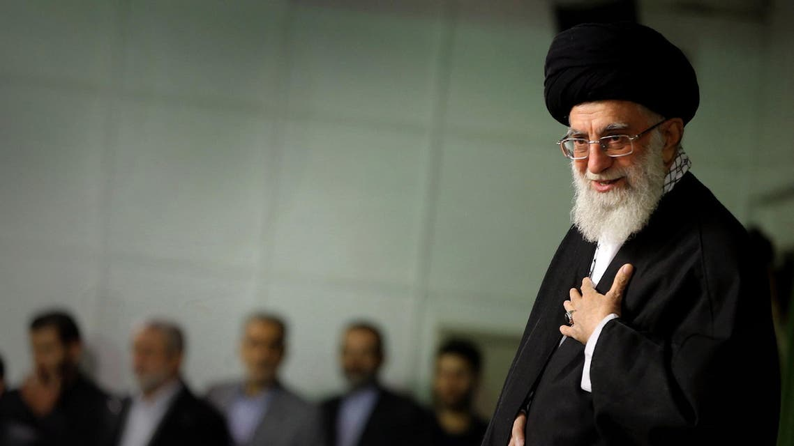 A handout picture released by the official website of the Centre for Preserving and Publishing the Works of Iran's supreme leader Ayatollah Ali Khamenei, shows him speaking during a ceremony in Tehran on Nov. 25, 2014. (AFP)