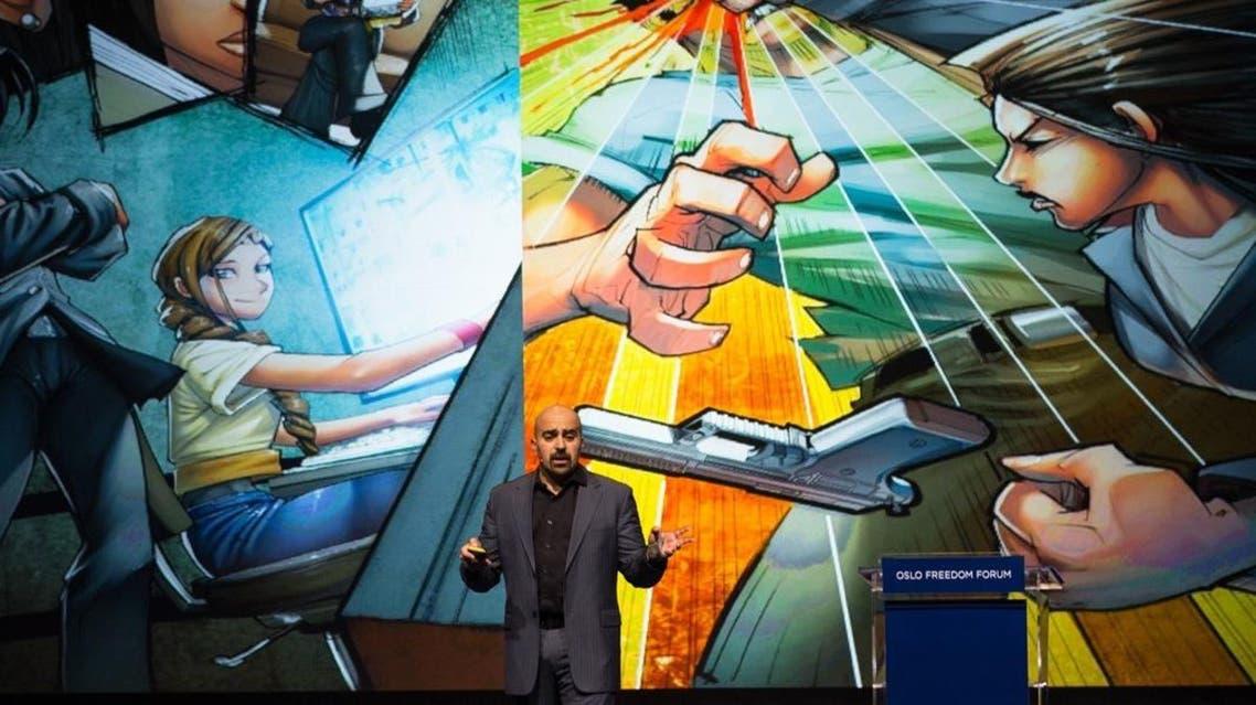 Comic-book author Suleiman Bakhit said militant groups such as ISIS are capitalizing on the hero narrative. (Photo courtesy: oslofreedomforum.com)