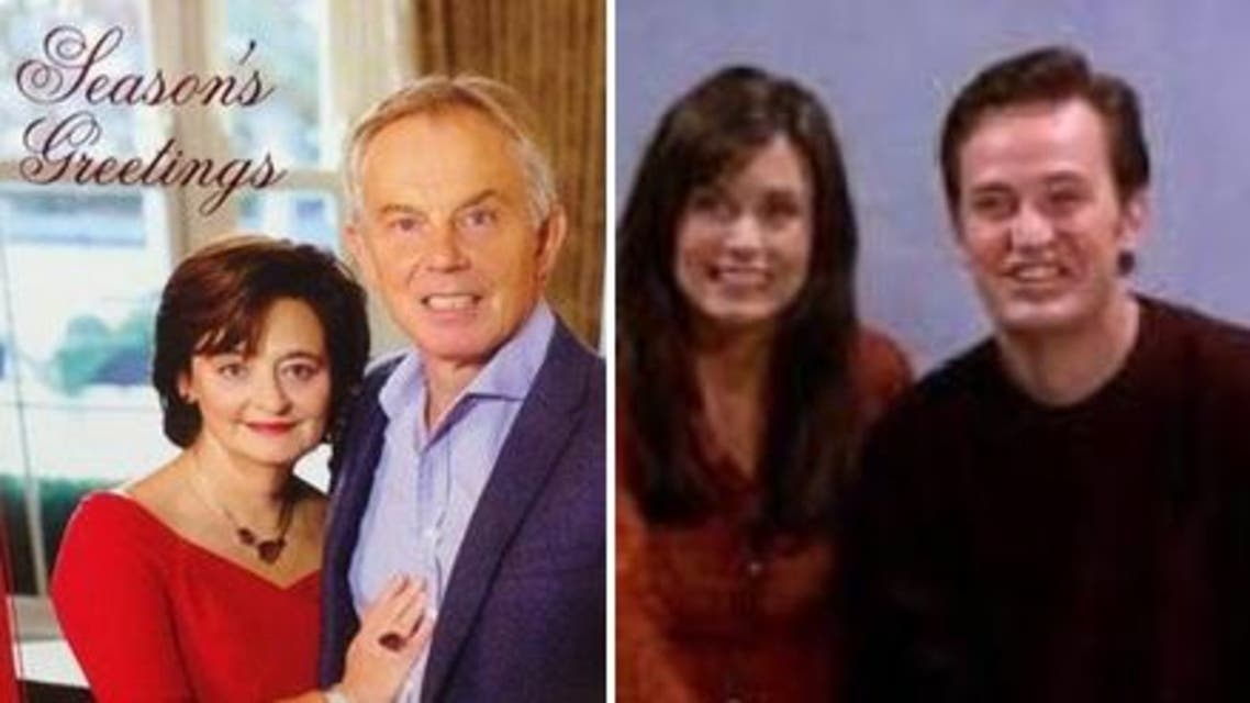 Tony Blair's oothy-grin and seemingly uncomfortable pose quickly inspired hashtags such as #ThingsLessUncomfortableThanTonyBlairsChristmasCard