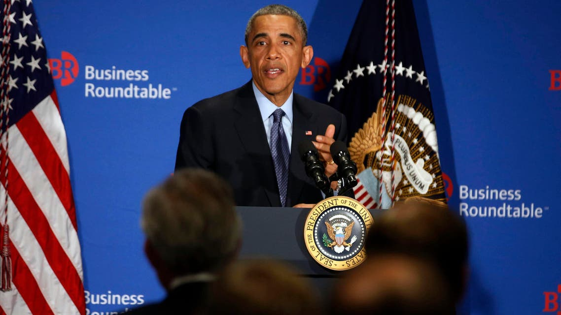 U.S. President Barack Obama answers questions from business leaders while at the quarterly meeting of the Business Roundtable in Washington, Dec. 3, 2014. (Reuters)