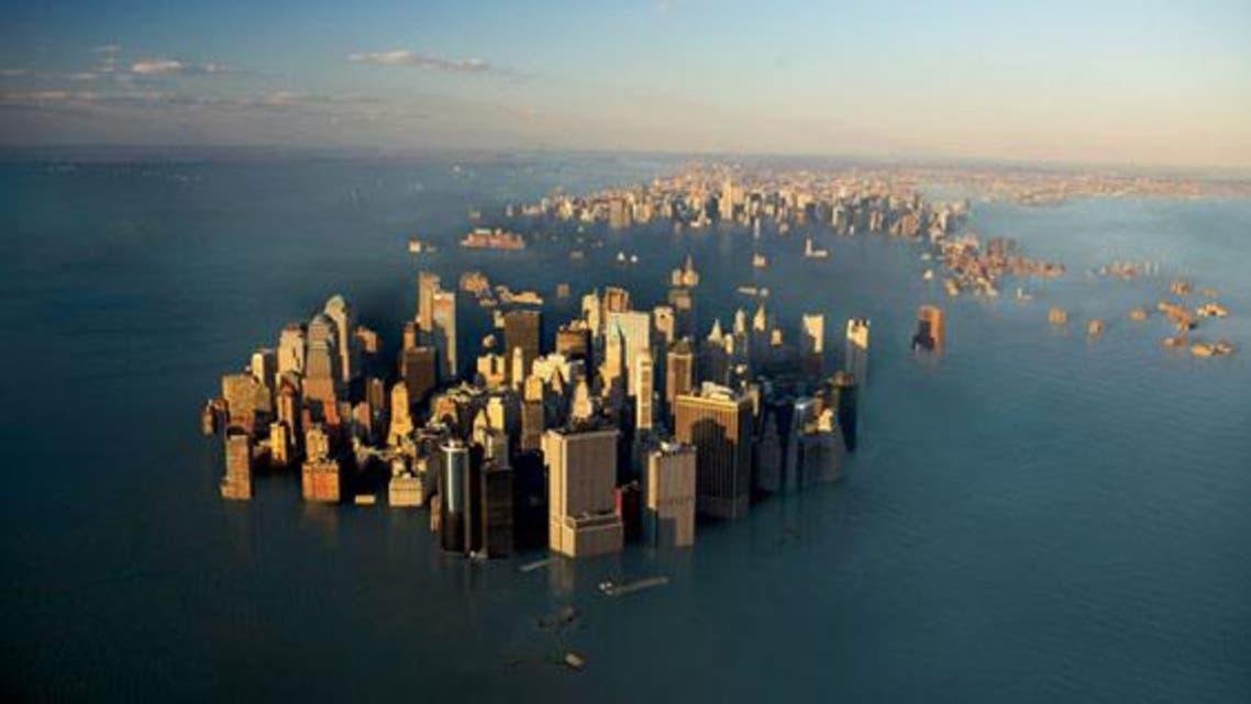 مشهد تخيلي تم انتاجه بواسطة كومبيوتر لمانهاتن في نيويورك يمستوى خط البحر